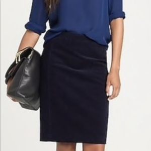 I. Crew black corduroy pencil skirt
